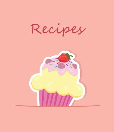 recipe book: Recipe card or cooking book cover   Illustration