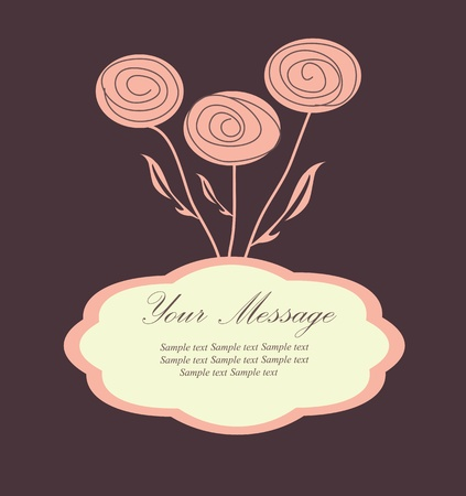hand drawn frame: Floral background The greeting card  Illustration