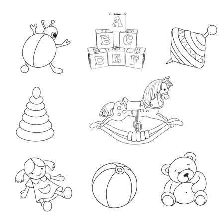 wooden doll: Set of outlined baby s toys elements