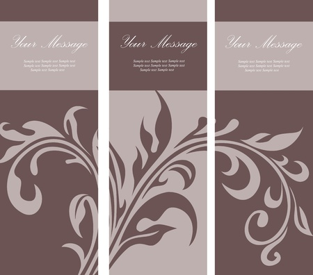 Set of floral invitation cards Vector