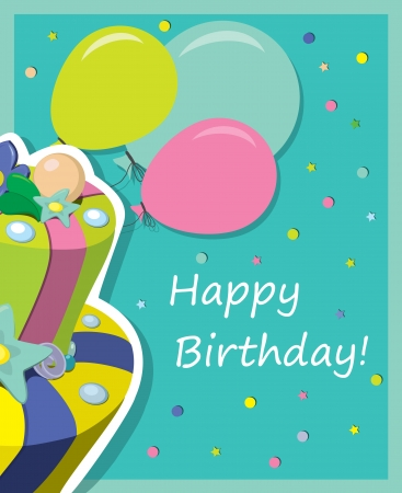 birthday cake   Greeting Card  Stock Vector - 15354715