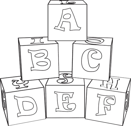 Outlined letter cubes toys   illustration Vector
