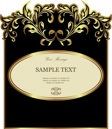 gold frame: Luxury black with white gold-framed label Illustration