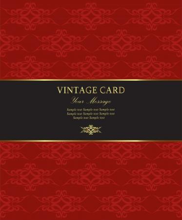 gold label: Damask vintage card  illustration Illustration