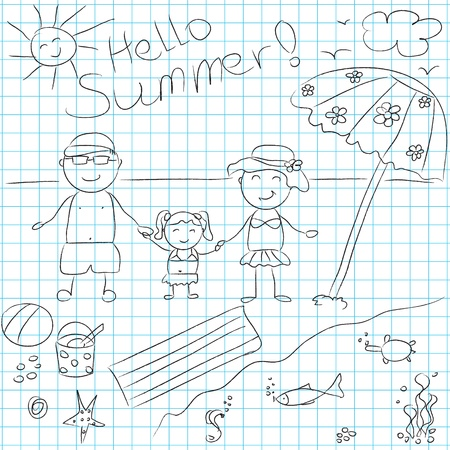 black family smiling: Happy family on summer vacation  illustration Illustration