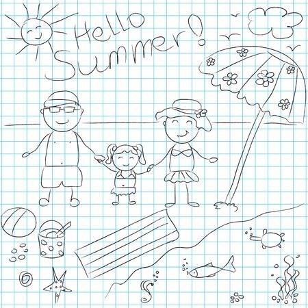 black family smiling: Happy family on summer vacation  illustration Illustration
