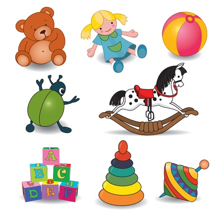 rocking horse: Set of baby s toys elements illustration Illustration