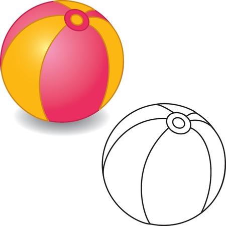 pelota caricatura: Libro para colorear. Toy ilustraci�n pelota. Aislado en blanco.
