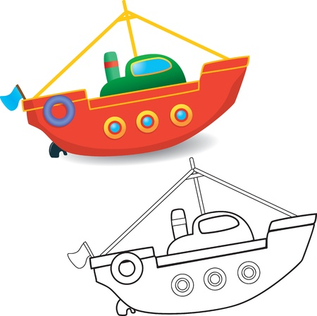 Coloring book  Boat toy on white background - illustration  Vector