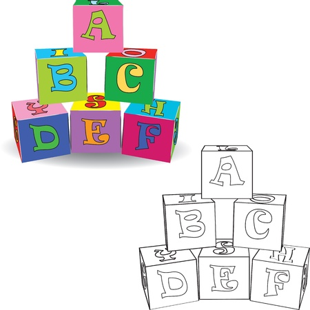 abc blocks: Coloring book  Letter cubes toys illustration Illustration