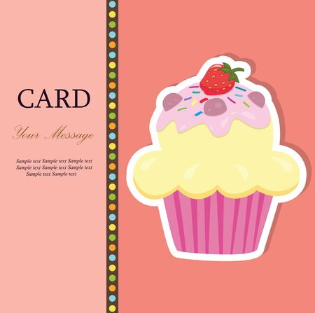 Greeting card with a cupcake illustration  Vector