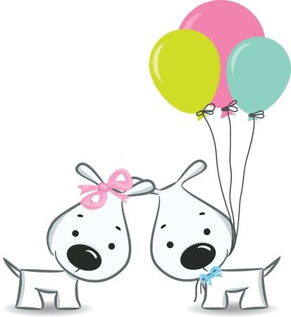 dog days: Perros pareja divertida con globos - ilustración