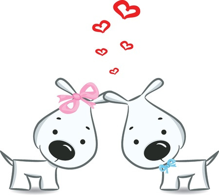 romance couple: Funny dogs  couple - illustration