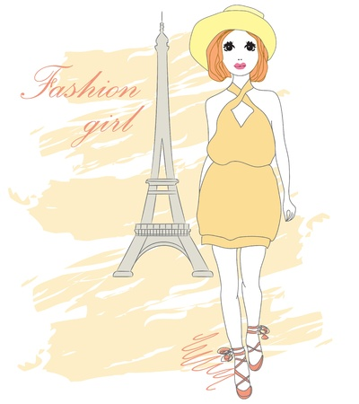 Beautiful stylish fashion girl  illustration Vector