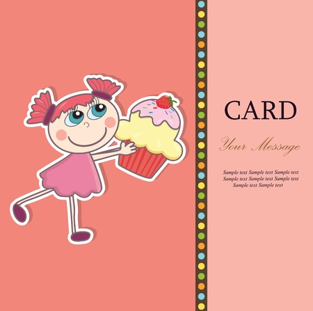 first birthday: Little girl with a cupcake  Greeting card  illustration  Illustration