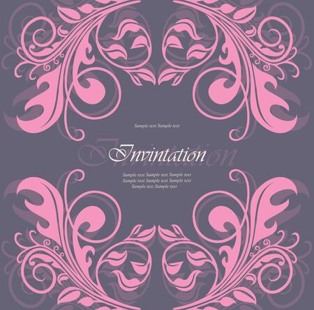 pink swirl: Lovely invitation or announcement  illustration