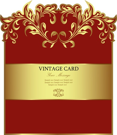Red gold-framed label  illustration  Vector