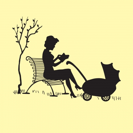 woman reading book: Silhouette of a young mother with a carriage illustration
