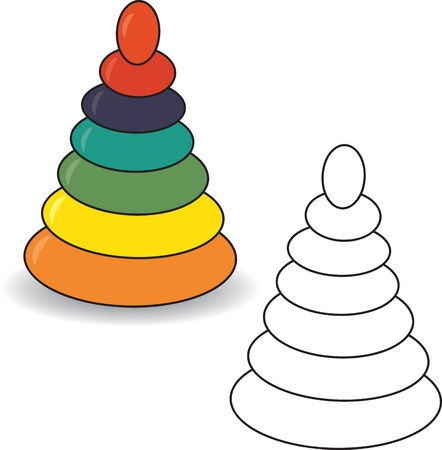 Coloring book  Pyramid  illustration  Baby toy Vector