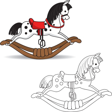 schommelpaard: Kleurboek Rocking Horse illustratie