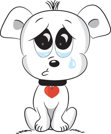 romantic picture: Sad dog  illustration