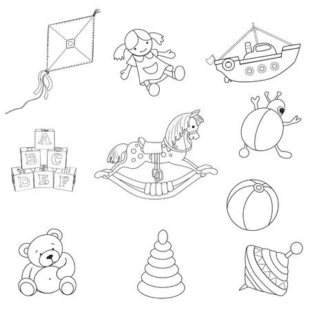 pull toy: Conjunto de ilustraci�n beb� s juguetes Vectores