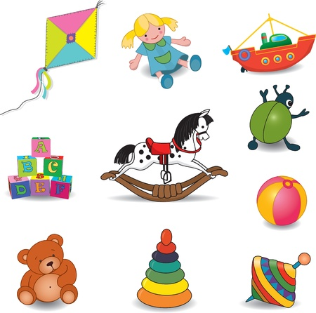 Set of outlined baby s toys illustration Vector
