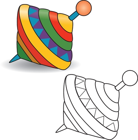 Coloring book Humming-top, whirligig - illustrazione