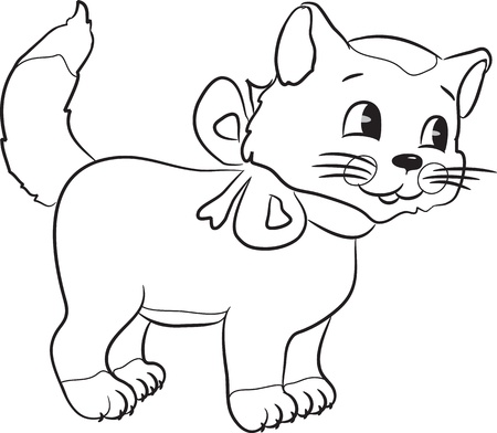 Outlined cute cartoon cat. Vector illustration. Stock Vector - 15399182