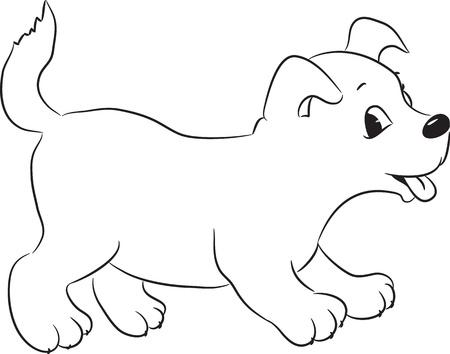 かわいい漫画の犬を概説しました。ベクトル イラスト。