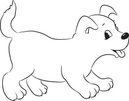 Geschetst cute cartoon hond. Vector illustratie.