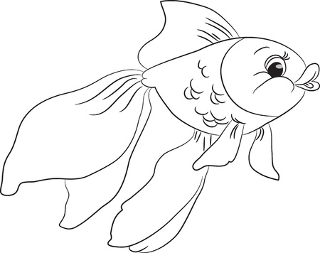 Outlined cute cartoon goldfish. Vector illustration. Vector