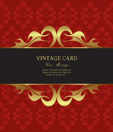 Damask red with gold vintage card. Vector illustration Vector