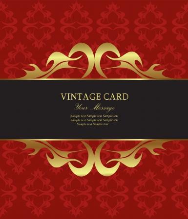 booze: Damask red with gold vintage card. Vector illustration Illustration