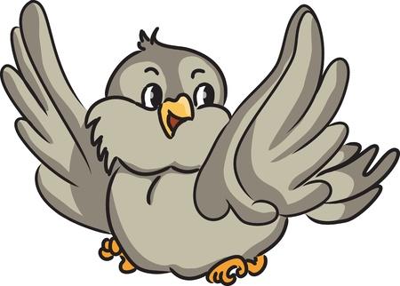 sparrows: Cartoon bird. Vector illustration.