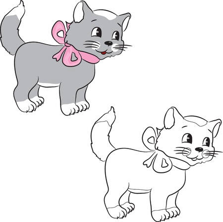 gato caricatura: Libro para colorear. Un gato de dibujos animados lindo. Ilustración vectorial