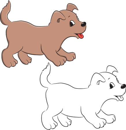 Coloring book. A cute cartoon dog. Vector illustration Vector