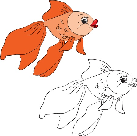 game fish: Coloring book. Cartoon goldfish. Vector illustration Illustration
