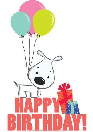 first birthday: Cute cartoon dog with balloons. A birthday greeting. Vector illustration, the background
