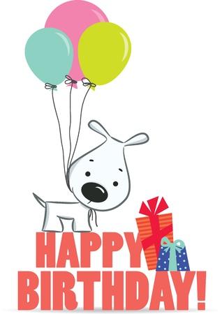 felicitaciones de cumplea�os: Perro lindo de la historieta con los globos. Un saludo de cumplea�os. Ilustraci�n vectorial, los antecedentes