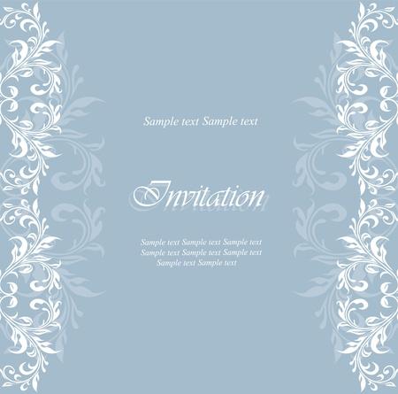 Vintage damask floral invitation card. Stock Vector - 15399151