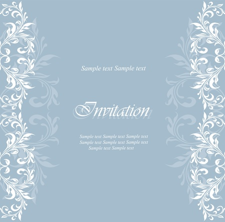 Vintage damask floral invitation card. Vector