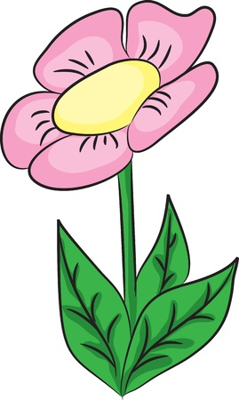 clip art draw: Nice cartoon flower. Vector illustration.