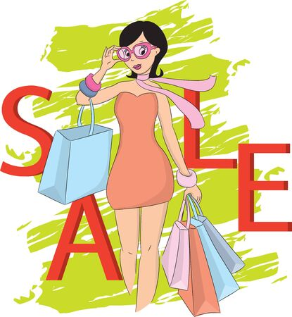 vector girl: Fashion shopping girl and sale word. Vector illustration. Illustration