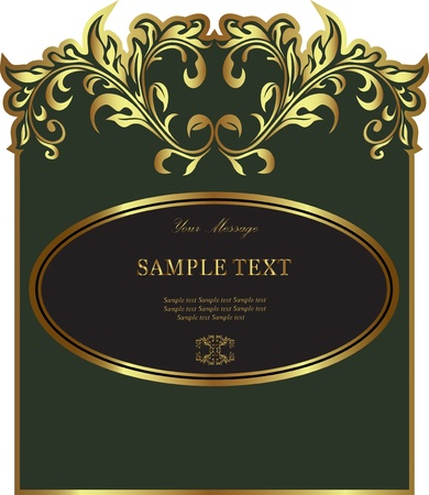 Luxury green gold-framed label. Vector illustration. Vector