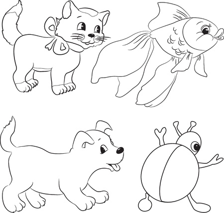 Vector set of outlined cartoon animals. Coloring book. Vector