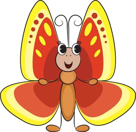 insect flies: Cute cartoon butterfly