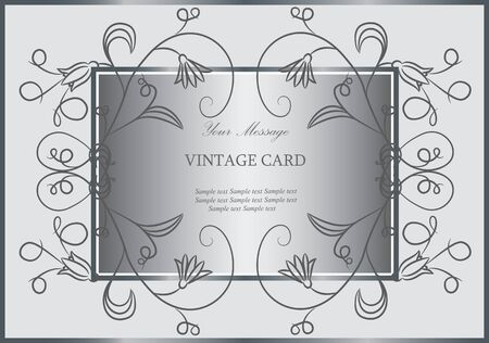 Silver floral invitation or announcement Vector