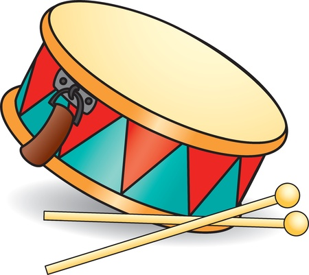 drum and bass: Toy drum and drumsticks.