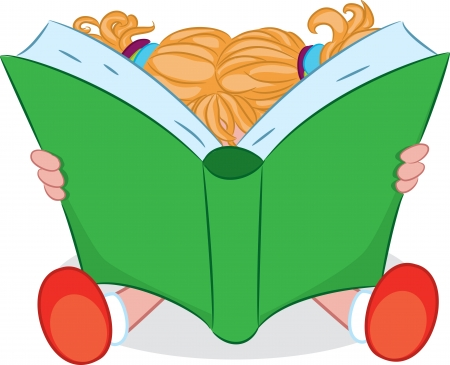 junior: A cartoon girl reading a book